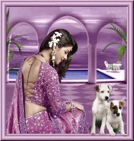 Анимация Красивая восточная девушка с цветами в волосах и украшениях на фоне собачек / Greation fashion/