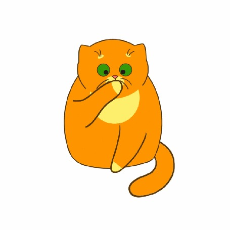 Анимация Рыжий кот умывается