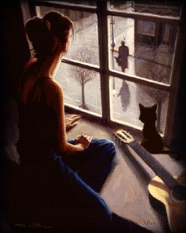 Анимация Девушка сидит на подоконнике с котенком и смотрит в окно на фоне гитара