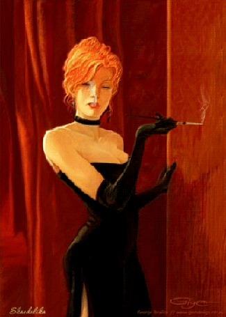 Анимация Гламурная девушка в черном вечернем платье курит сигарету