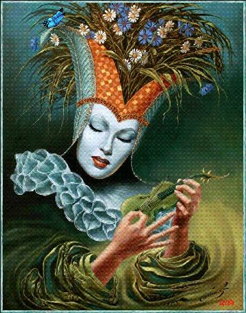 Анимация Фантастическая девушка с цветами на голове играет на скрипке на фоне бабочка и стрекозаLEILa/