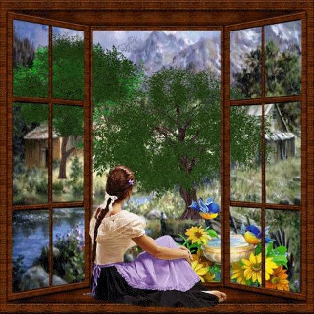 Анимация Девушка сидит на фоне природы и смотрит в окно