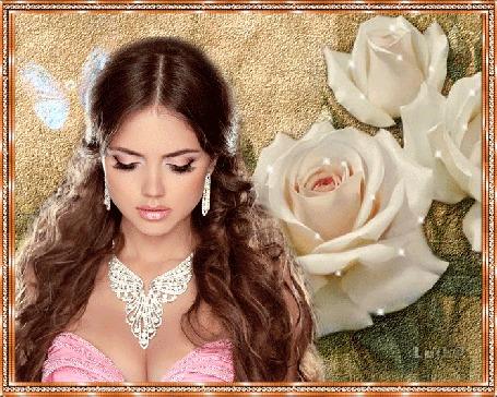 Анимация Красивая девушка с украшениями на фоне белых роз и бабочек / ЛУША/ (© qalina), добавлено: 30.06.2015 22:11