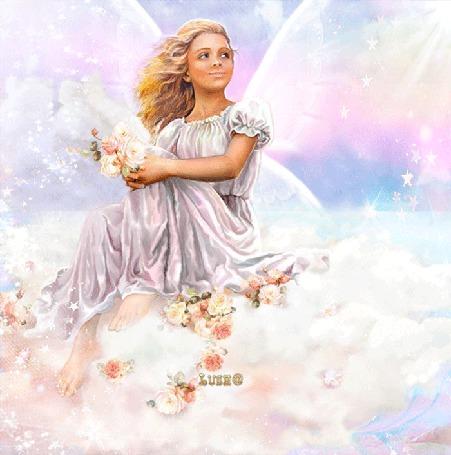 Анимация Девочка ангелочек сидит на облаках с цветами в руках / ЛУША/ (© qalina), добавлено: 01.07.2015 17:28