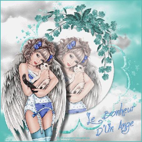 Анимация Девушка ангелочек с котенком на руках с отражением в зеркале (Le Bonheur Dun Ange / Счастье от Ангела)
