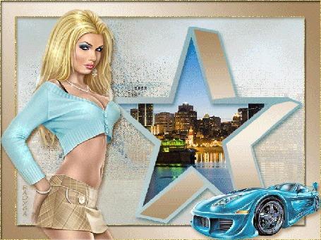 Анимация Девушка на фоне машины и ночного города, RADYGA