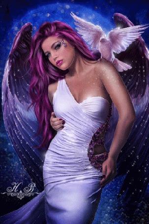 Анимация Девушка ангел на фоне голубого неба с голубем на плече, Н. В
