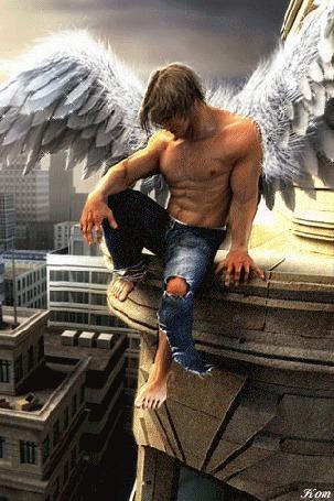 Анимация Грустный ангел сидит на высоком здании и смотрит вниз, Kom (© qalina), добавлено: 01.07.2015 21:24