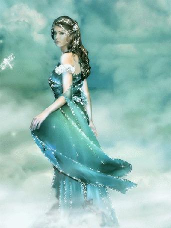 Анимация Девушка на фоне облачного неба и стрекозки