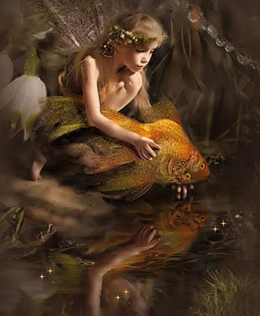 Анимация Девочка эльф отпускает золотую рыбку в воду