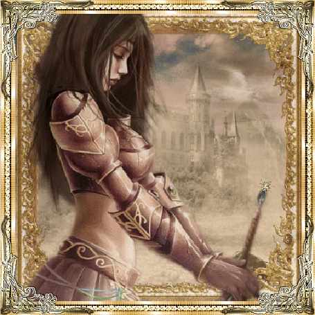 Анимация Фантастическая девушка с волшебной палочкой в руках на фоне замка