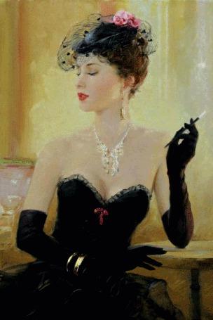 Анимация Ретро девушка в черном платье и черных перчатках с украшениями и сигаретой в руках