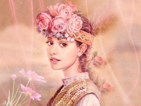 Анимация Девушка с красивыми глазами в национальной одежде с веночком на голове на фоне цветов бабочки, З. Б (© qalina), добавлено: 02.07.2015 17:52
