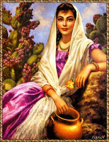 Анимация Восточная девушка с красивыми глазами с покрытой головой и с цветочком в руке на фоне кактусов, художник Jesus Helguera, ТОРИЯ (© qalina), добавлено: 02.07.2015 18:23
