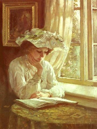 Анимация Ретро девушка сидит за столиком пере окном и читает книгу (© qalina), добавлено: 02.07.2015 18:25