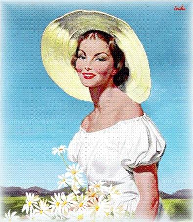 Анимация Красивая девушка с голубыми глазами на фоне голубого неба с белыми лебедями с ромашками в руках, LEILA (© qalina), добавлено: 02.07.2015 18:44