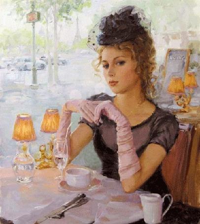Анимация Ретро девушка сидит в кафе за столиком на фоне чашечки, фужера и настольных приборов, мимо кафе мчатся машины, ЛУША