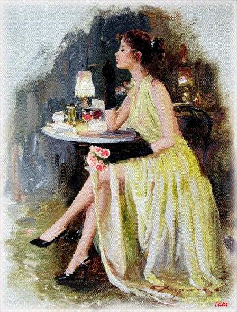 Анимация Девушка сидит за столиком с цветами в руках на фоне фужера с вином и курит сигарету, Leila