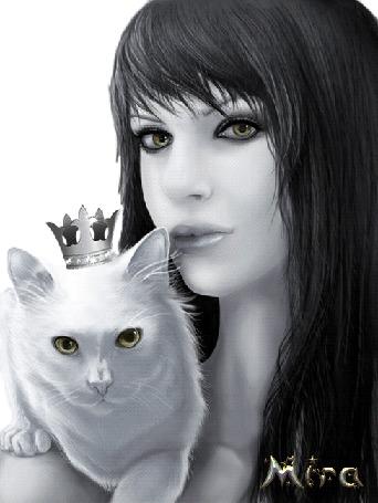 Анимация Темноволосая девушка держит на руках белую кошечку с короной, МИРА (© irina.marianna1), добавлено: 02.07.2015 20:43