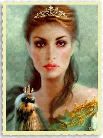 Анимация Девушка со слезами на глазах и с диадемой на голове держит сокола с короной, МИРА