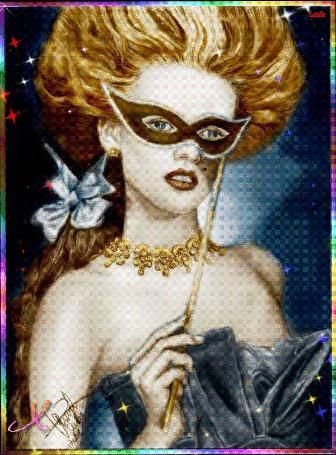 Анимация Красивая девушка с голубыми глазами в маске с украшениями на шее на фоне звездного неба, Leila, (Хорошего настроения) (© qalina), добавлено: 03.07.2015 16:14