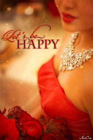 Анимация Девушка с ожерельем на шее с ярко накрашенными губами в красном платье / Let s be HAPPU / АССОЛЬ/
