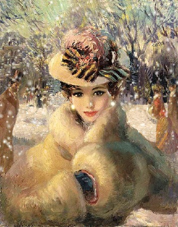 Анимация Ретро девушка в шляпке и шубе, на фоне снега и проходящих людей / Сима/ (© qalina), добавлено: 03.07.2015 17:46