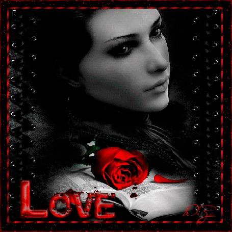 Анимация Грустная девушка на темном фоне с книгой и красной розой (LOVE)