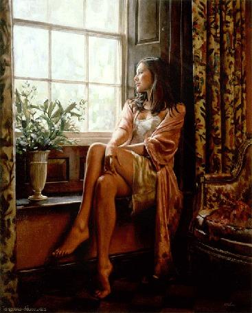 Анимация Девушка сидит у окна на фоне вазы с цветами, Татьяна-Абиссинка (© qalina), добавлено: 03.07.2015 21:06