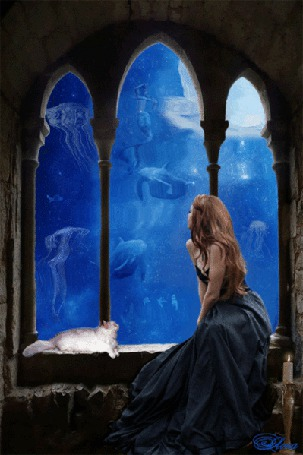 Анимация Девушка наблюдает за подводным миром, на фоне кошка и свеча, Лора