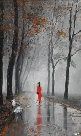 Анимация Дождь, парк, девушка