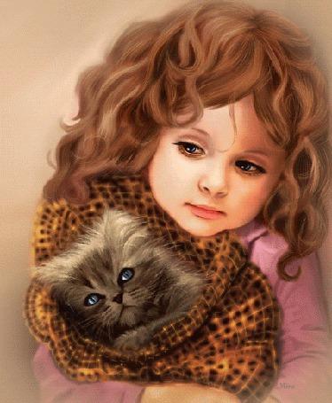 Анимация Кудрявая девочка держит на руках завернутого в плед котенка (© irina.marianna1), добавлено: 04.07.2015 15:17