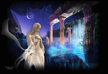 Анимация Девушка на фоне ночного неба при лунном свете