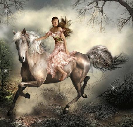 Анимация Девушка скачет на лошади на фоне облачного неба и деревьев (© qalina), добавлено: 04.07.2015 20:13