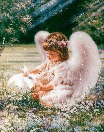 Анимация Девочка ангелочек с кроликом, на природе