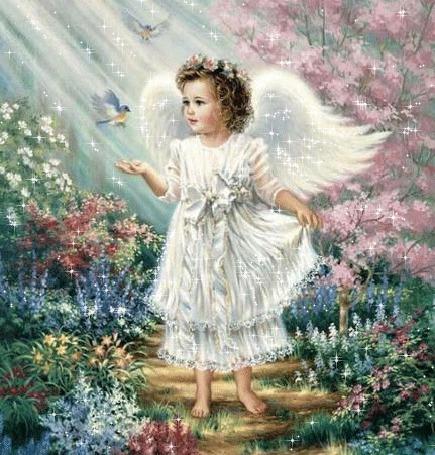 Анимация Девочка ангелочек на фоне красивой природы и птичек