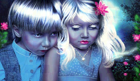 Анимация Дети на фоне цветов, ЕVА (© qalina), добавлено: 05.07.2015 22:21