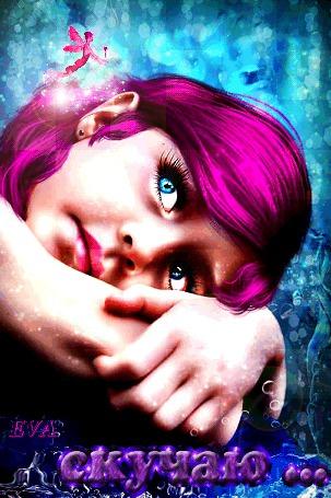 Анимация Девушка с голубыми глазами на фоне эльфийки (Скучаю), ЕVA (© qalina), добавлено: 05.07.2015 22:28
