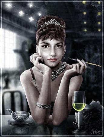 Анимация Девушка с украшениями сидит за столиком на фоне бокала и курит сигарету, художница Cornacchia, анимация МИРА (© qalina), добавлено: 06.07.2015 07:54