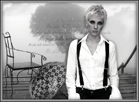 Анимация Девушка со слезами на глазах под дождем, на фоне зонт и скамеечка, Милочка (Ma plus belle histoire cest Toi / Моя лучшая история это ты)