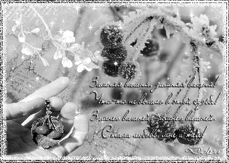 Анимация Зима, на морозном фоне ягоды зимней вишни, рука держит кулон, распускается цвет вишни (Зимняя вишня, зимняя вишня! Что-то не вышло в этой судьбе! Зимнею вишней, зимнею вишней. Стала любовь, мне и тебе!) (© ДОЛЬКА), добавлено: 06.07.2015 21:47