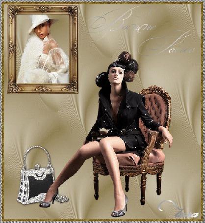 Анимация Девушка в черном сидит в кресле, рядом сумочка на фоне портрет девушки в белом наряде, (Bonne Soire / Добрый вечер), Tara (© qalina), добавлено: 06.07.2015 23:37