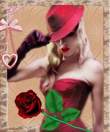 Анимация Гламурная девушка в красной шляпе с розой в руке, Ксюша (© qalina), добавлено: 07.07.2015 16:07