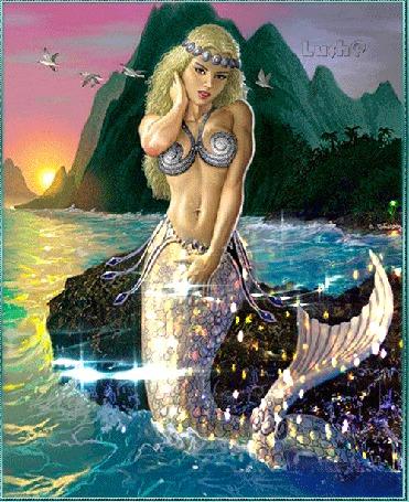 Анимация Красавица русалочка на фоне моря, гор и птиц, Lush@