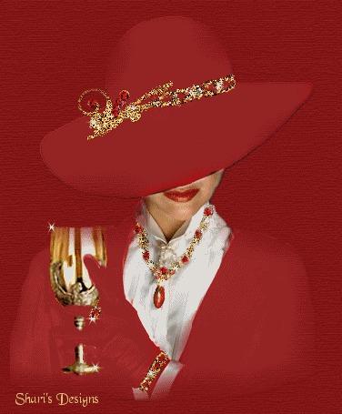 Анимация Девушка в красной шляпе и красном костюме с украшениями держит в руке бокал, Sharis Designs