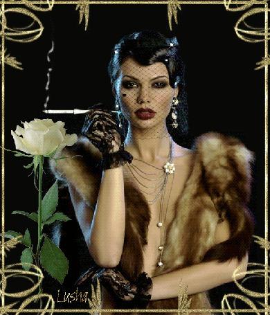 Анимация Гламурная девушка с вуалью и украшениями на фоне белой розы курит сигарету, Луша