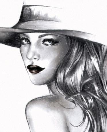 Анимация Рисунок девушки в шляпе (© zmeiy), добавлено: 07.07.2015 17:59