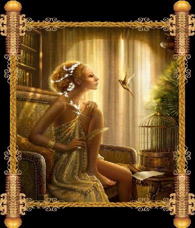 Анимация Девушка с перышком в руке и с украшениями на фоне птички колибри, САЮРИ (© qalina), добавлено: 07.07.2015 19:53