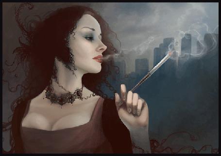 Анимация Черноволосая девушка с черными глазами на фоне города с украшениями на шее курит сигарету (© qalina), добавлено: 07.07.2015 20:36