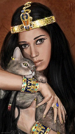 Анимация Клеопатра, украшенная драгоценностями с кошкой в руках (orсaнa100) (© qalina), добавлено: 07.07.2015 20:45